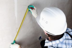 this image shows preparation and measurement for new york city popcorn ceiling removal
